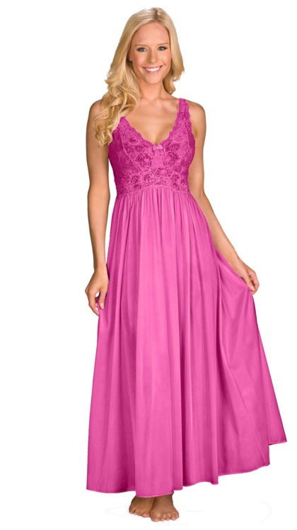 Shadowline® Long Lace Bodice Nightgown