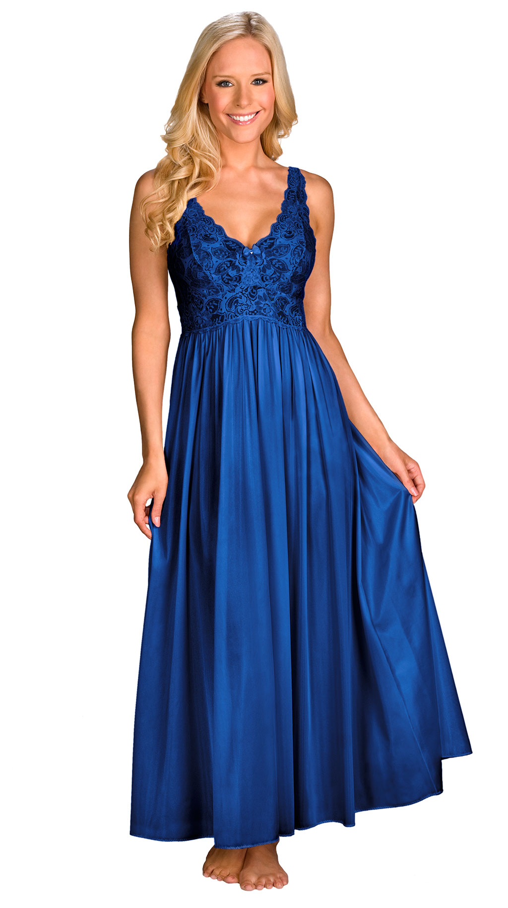 blue women's long nightgowns
