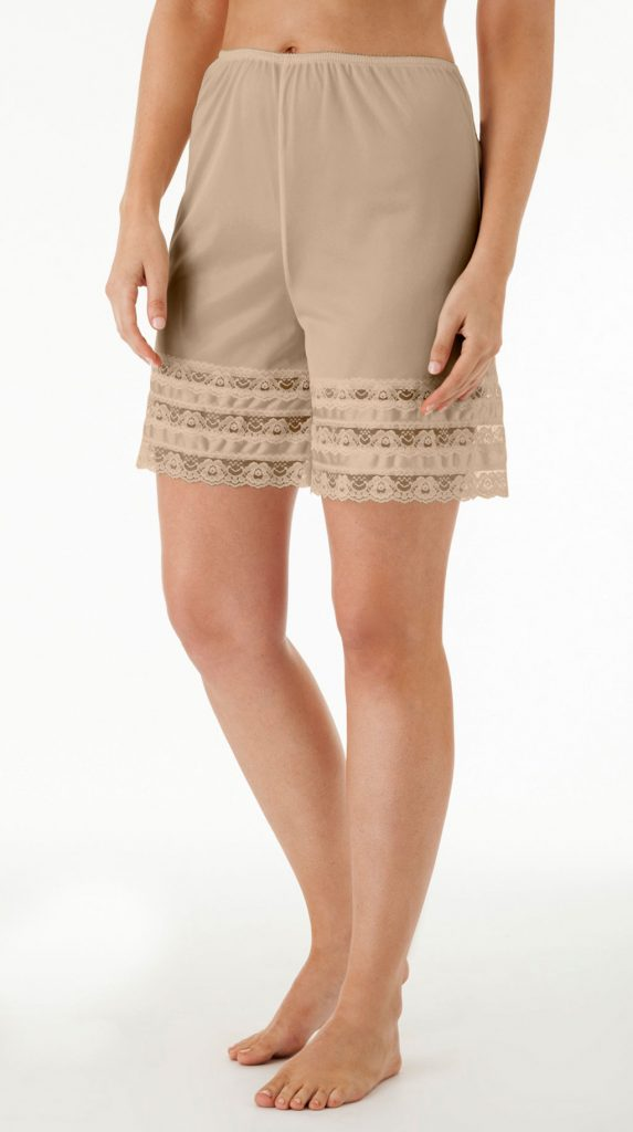 nude colored slip shorts with lace trim - anti thigh rub underwear