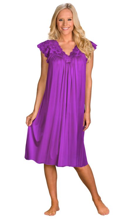 Shadowline® Short Lace Cap Sleeve Nightgown
