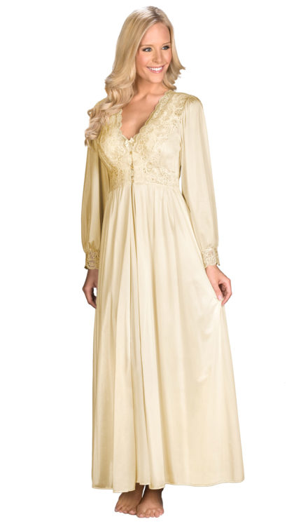Shadowline® Long Lace Bodice Button Down Robe