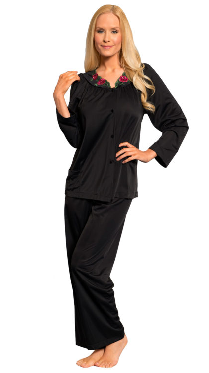 Shadowline® Long Sleeve Button Down Pajama Set