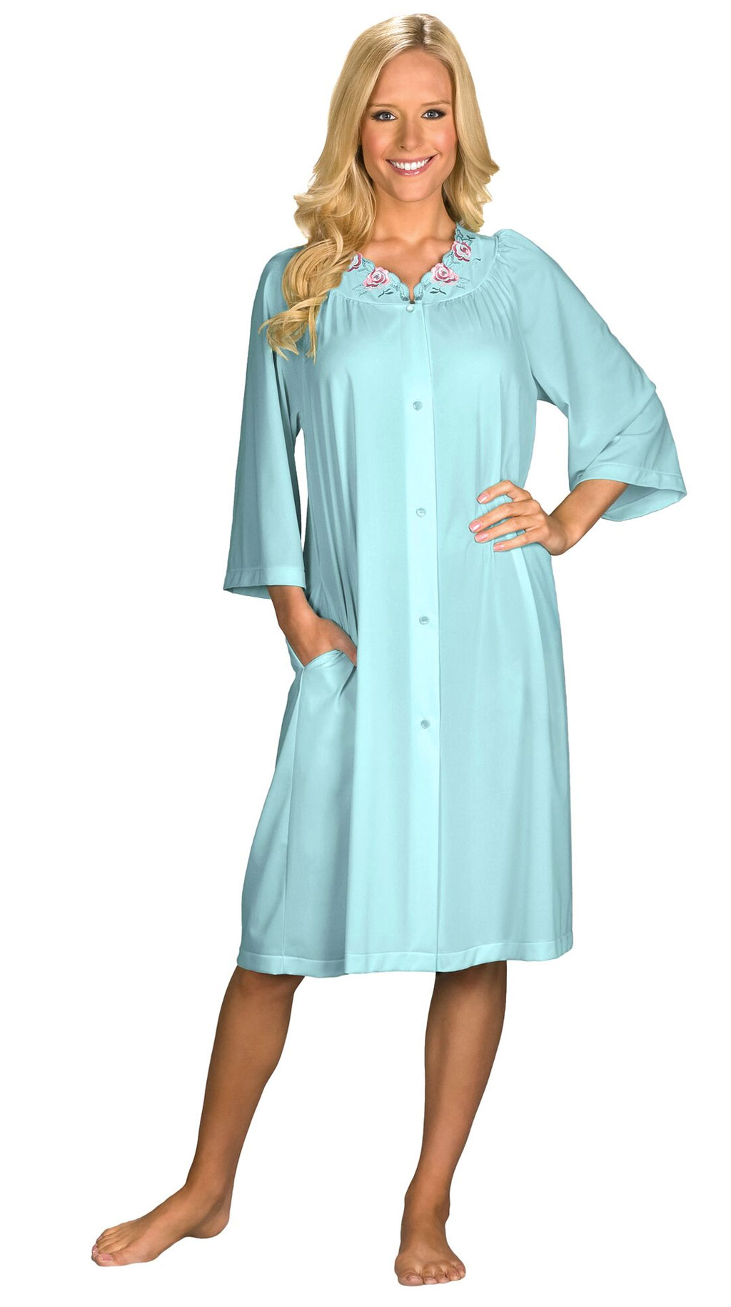 Shadowline® Short 3/4 Sleeve Button Down Robe