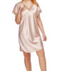 Shadowline 4503 Blush pink satin and lace nightdress sleep shirt
