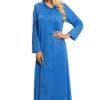 Shadowline 71280 Sapphire blue Petals floor length button up robe