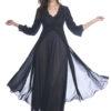 Shadowline 71737 black long nylon peignoir robe with lace