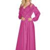 Shadowline 71737 flamingo pink long nylon peignoir robe with lace