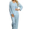 Shadowline 76283 Petals blue pajama set with rose embroidery