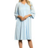Shadowline 77280 light blue knee length button up robe with floral embroidery