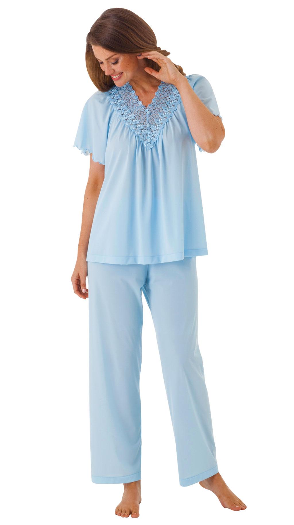 Shadowline® Short Sleeve Lace Pajama Set