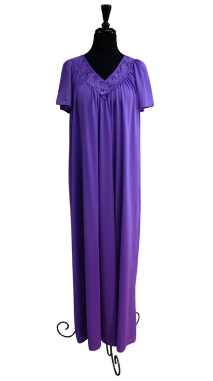 Purple Lace Neck Night Gown