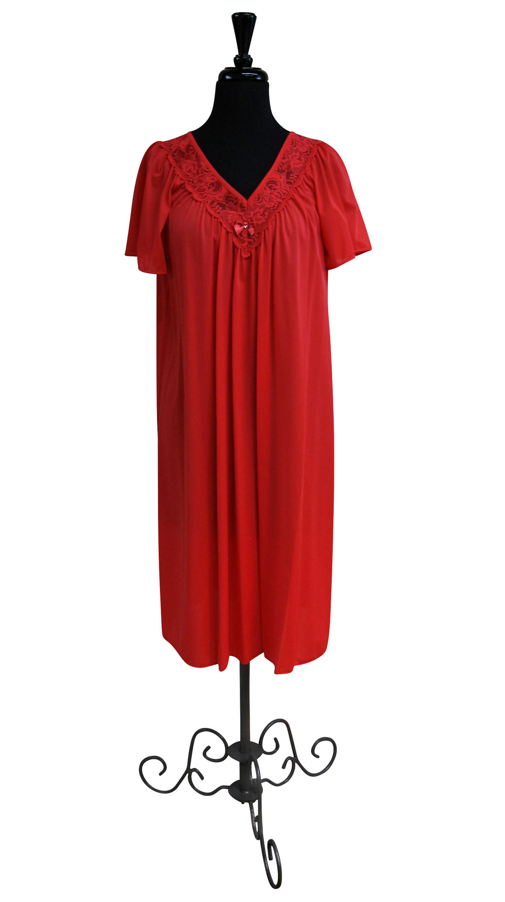 Red Lace Neck Nightgown