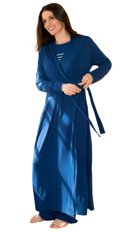 navy wrap bathrobe for women