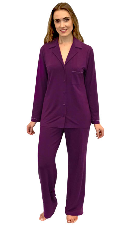 grape pajama set with animal print trim