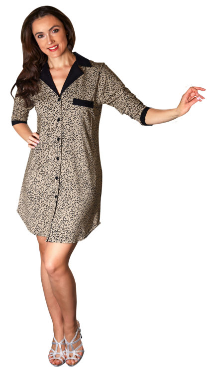 black and tan animal print nightshirt