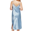 Shadowline 4502 light blue satin and lace chemise back