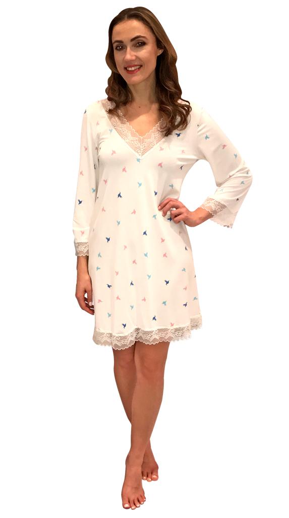 Shadowline® 3/4 Sleeve Lace Trim Sleepshirt