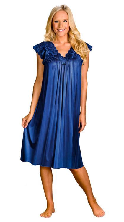 navy blue silk sleep dress