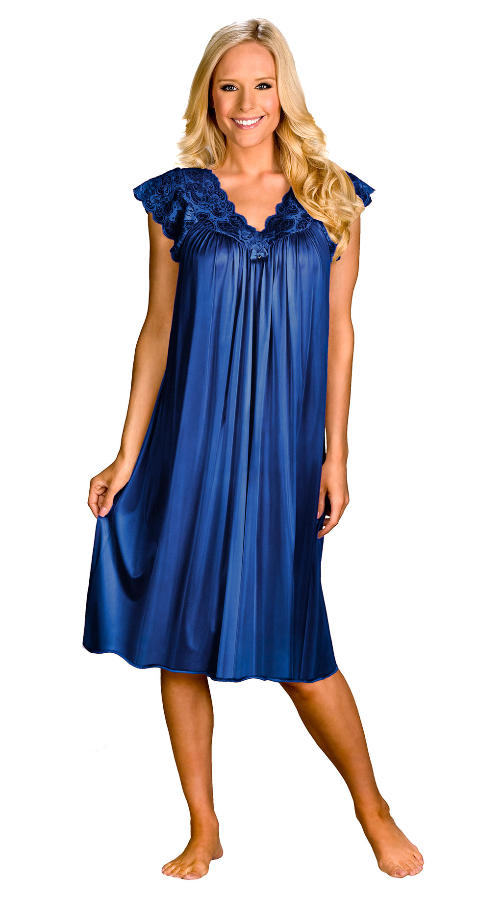navy blue silk sleep dress