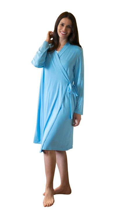 women's robes in aqua