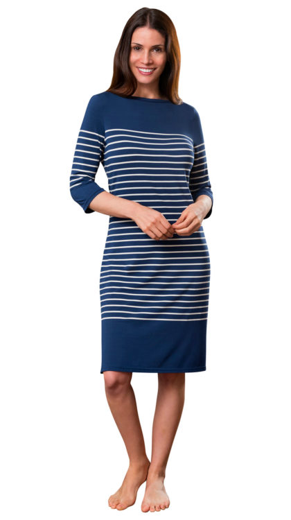 navy blue striped ladies night dress