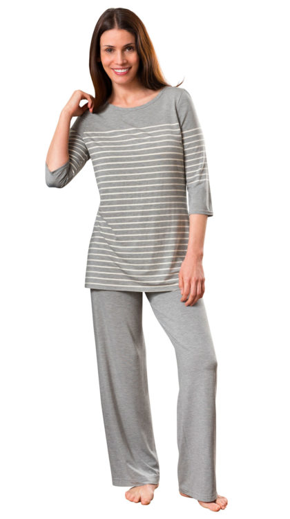 gray striped cute pajama sets for women