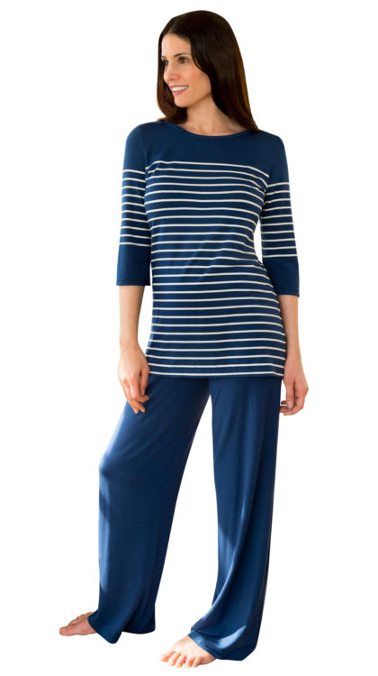 blue striped pajama sets for women