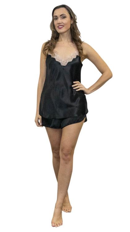 Shadowline 4506 black satin and lace camisole and shorts pajama set