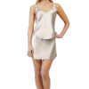 Shadowline 47091 Satin Essentials taupe mini length slip skirt and camisole lingerie