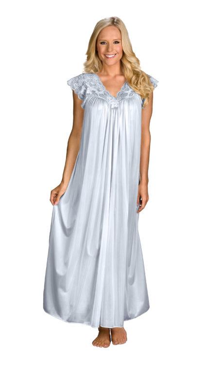 Ladies Long Full Length Satin Nightdress Chemise Nighty Nightshirt PLUS SIZE