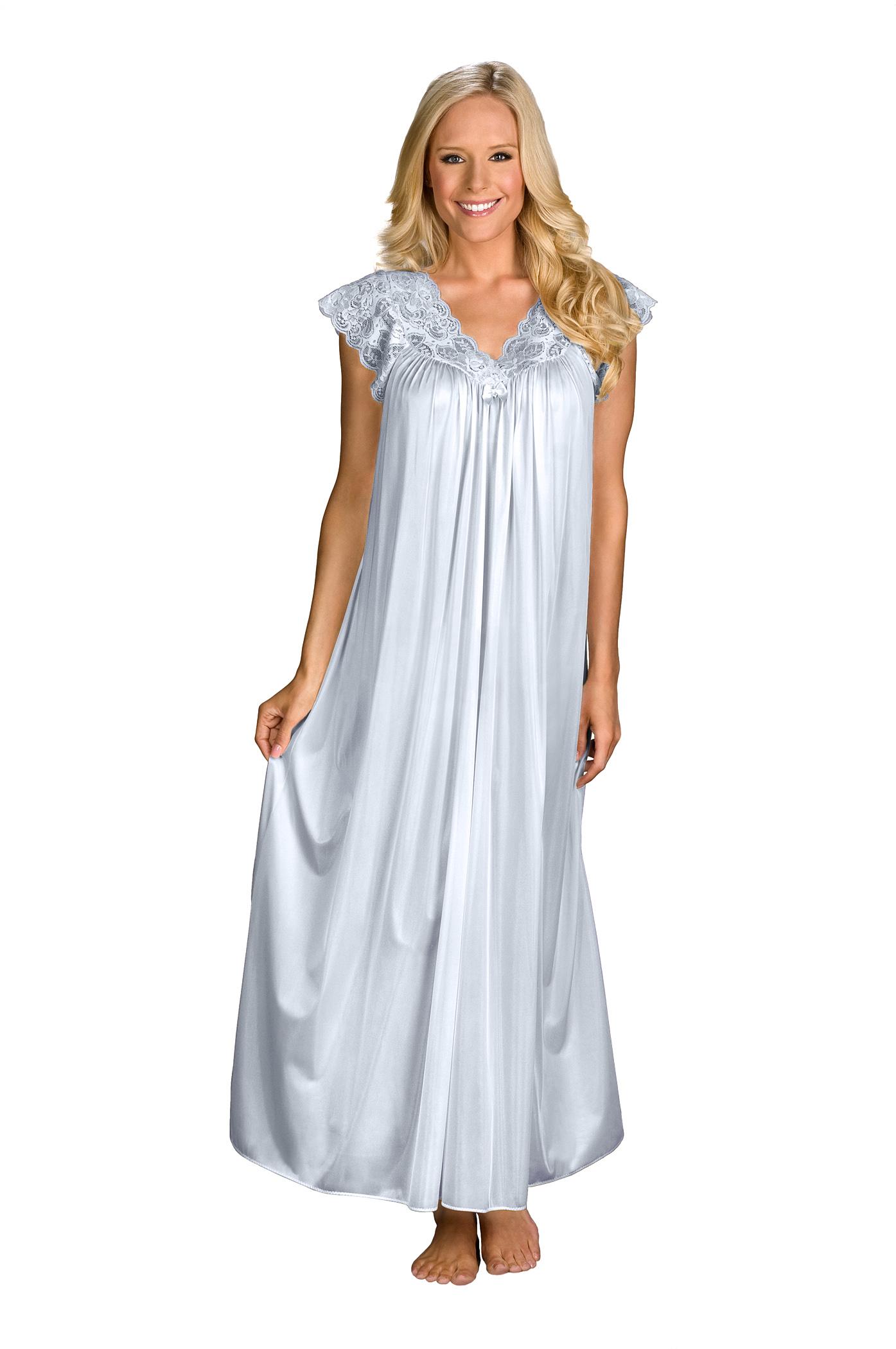 Ladies Dark Silver Grey Satin Chemise Nighty Nightshirt Size 8 10 12 14 16 18